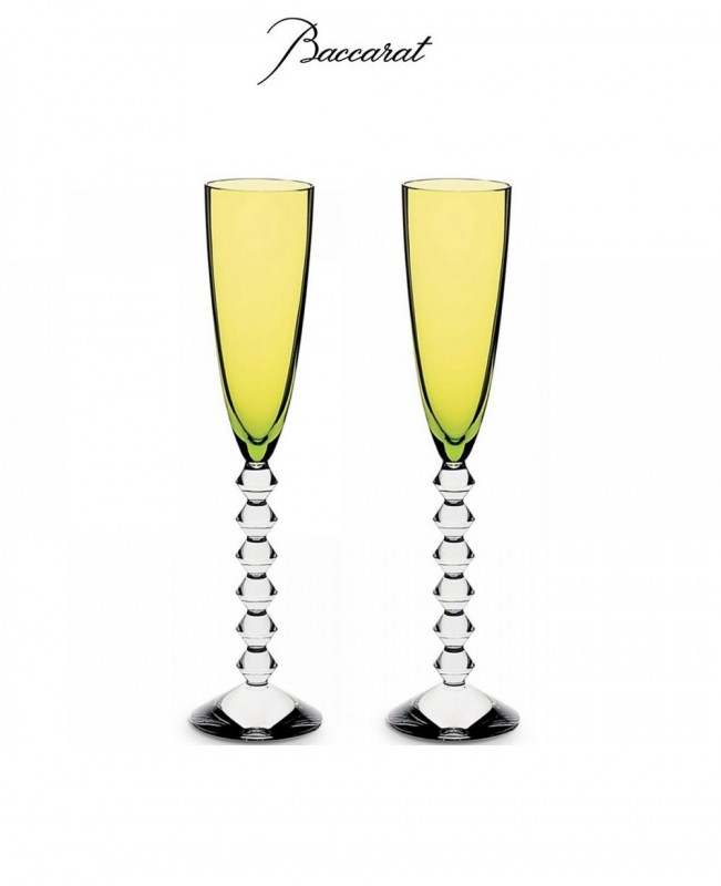 Vega Set of 2 Flutes - Moss Green (Baccarat)
