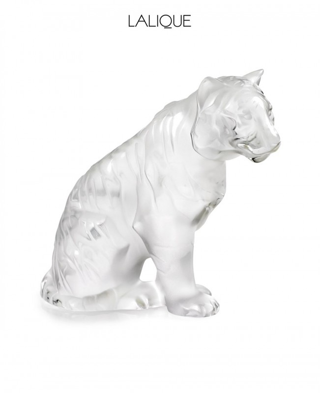 Sitting Tiger Small Clear Crystal Sculpture (Lalique)