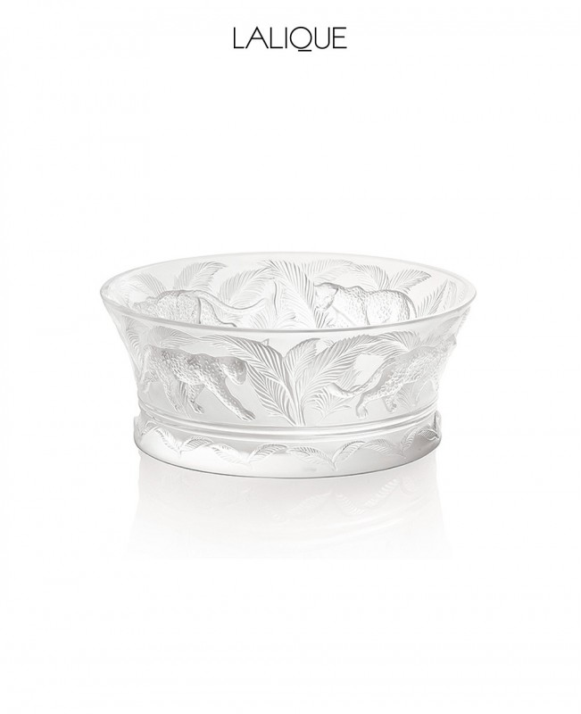 Jungle Coupe Clear Crystal Bowl (Lalique)