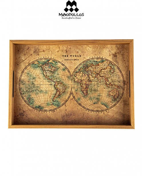 Wooden World Map Serving Tray (Manopoulo...