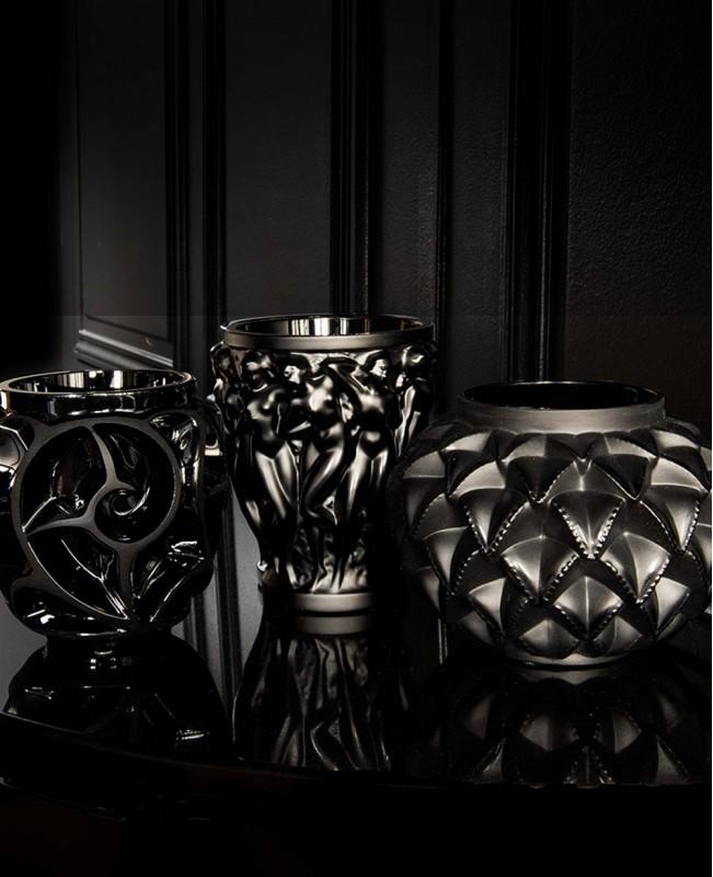 Tourbillons Black Crystal  Vase - Small (Lalique)