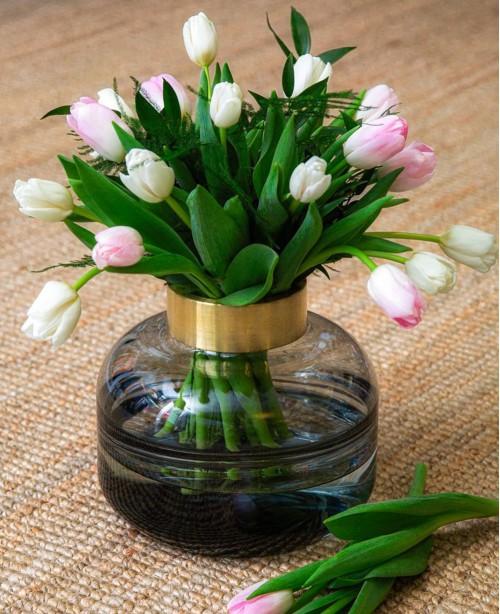 Giuglia Glass Vase with Brass Rim (Phili...