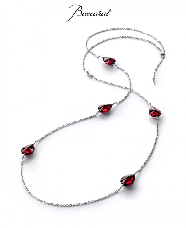 Fleurs de Psydelic Long Necklace with Rose Crystal & Silver Chain (Baccarat)
