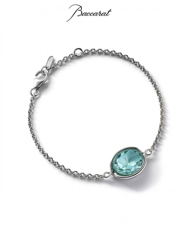 Croise Chain Bracelet  - Turquoise Crystal with Silver (Baccarat)