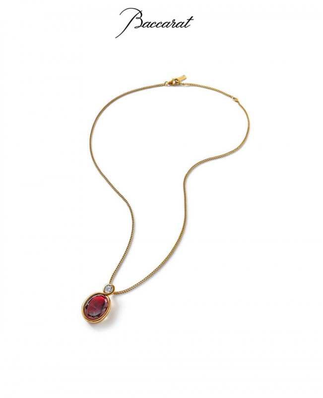 Croise Pendant & Chain Red Crystal with Gold  (Baccarat)