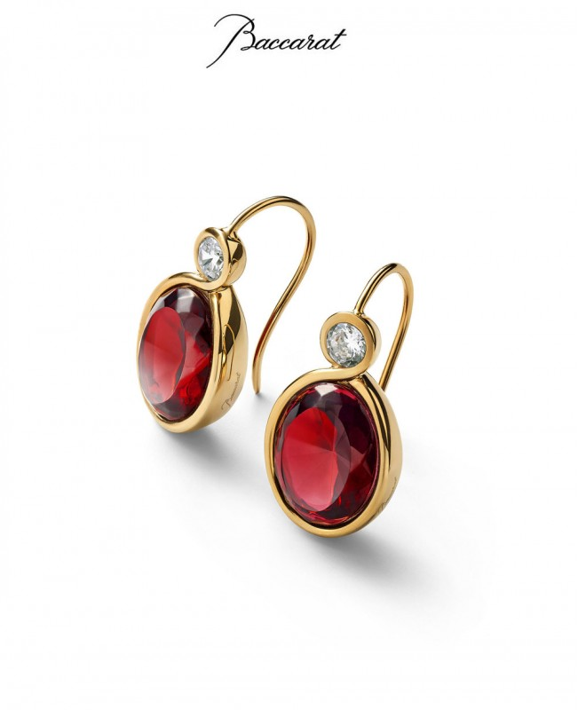 Croise Earrings Red Crystal with Gold  (Baccarat)