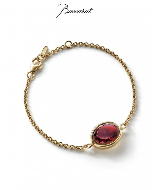 Croise Chain Bracelet - Red Crystal with...