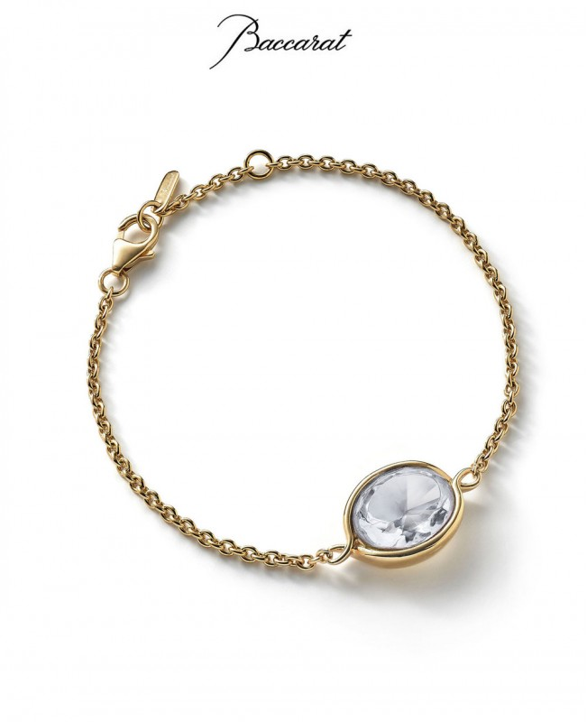 Croise Chain Bracelet Clear Crystal with Gold (Baccarat)