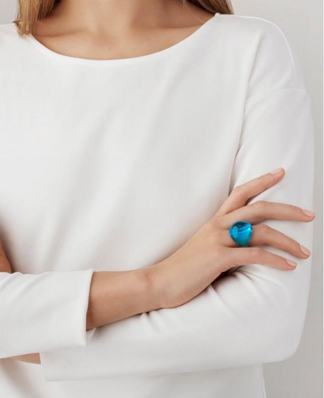 Light Blue Cabochon Ring (Lalique)