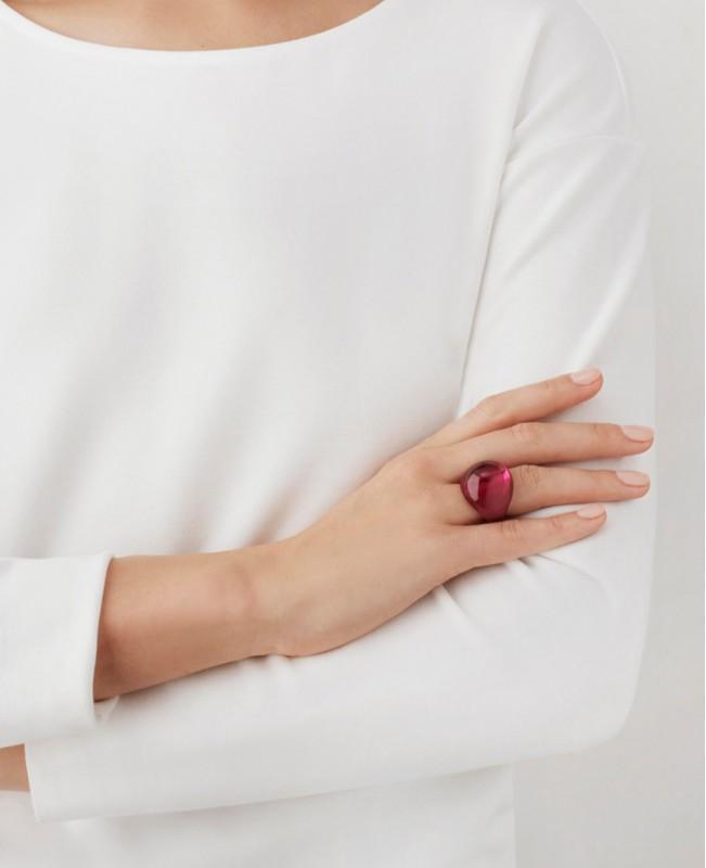 Fuchsia Cabochon Ring (Lalique)