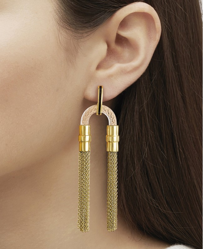 1927 Fantasie Crystal Earrings - Gold (Lalique)