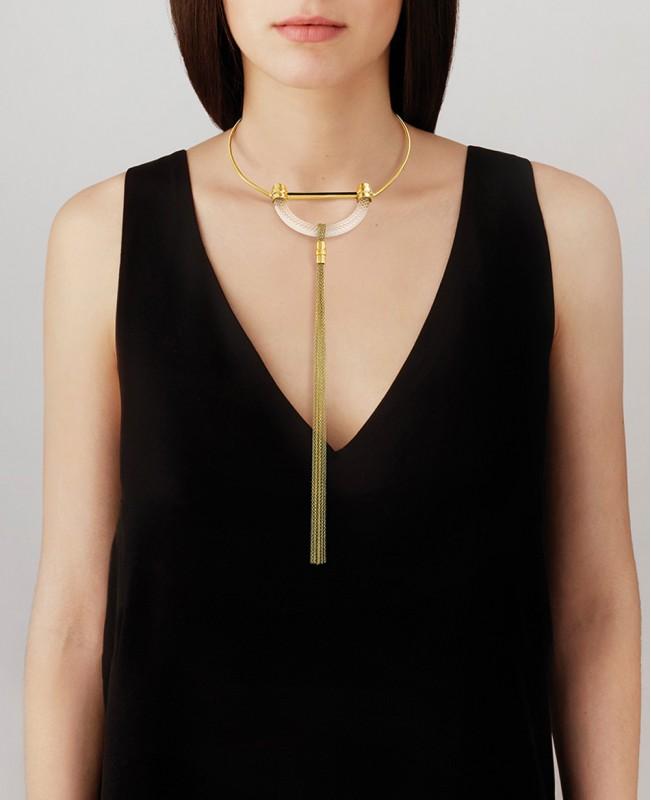 1927 Fantasie Crystal Rigid Necklace - Gold (Lalique)