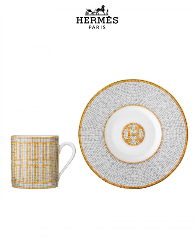 Mosaique Au 24 Gold Coffee Cup and Saucer (Hermes)