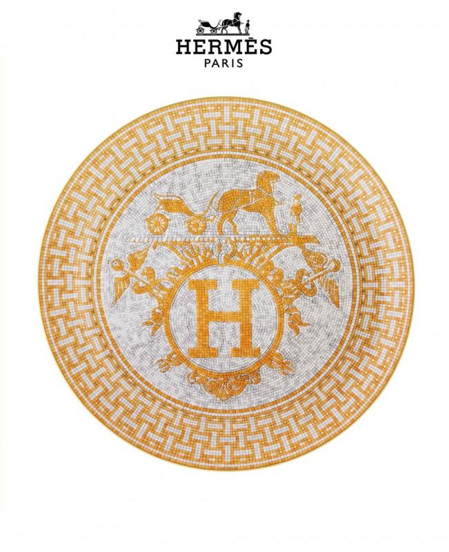 Mosaique Au 24 Gold Platine Tart Plate (Hermes)