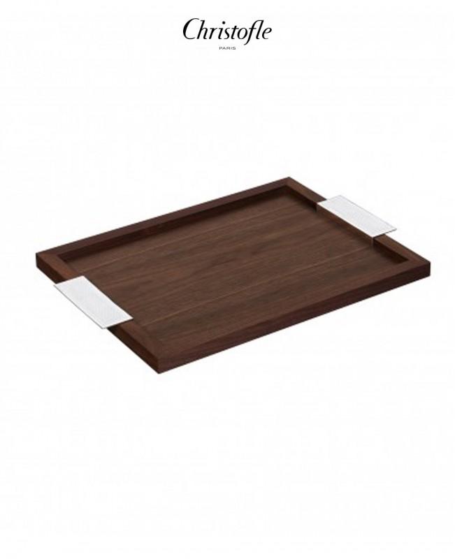 Madison Silver Plated and Walnut Wood Tray (Christofle)