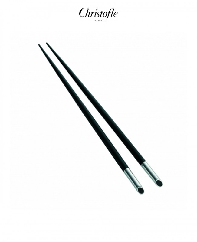 Galet Silver Plated Black Japanese Chopsticks (Christofle)