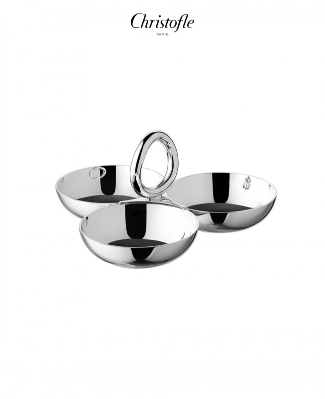 Vertigo Small Silver Plated Snack/Trinket Server with Three Bowls (Christofle)
